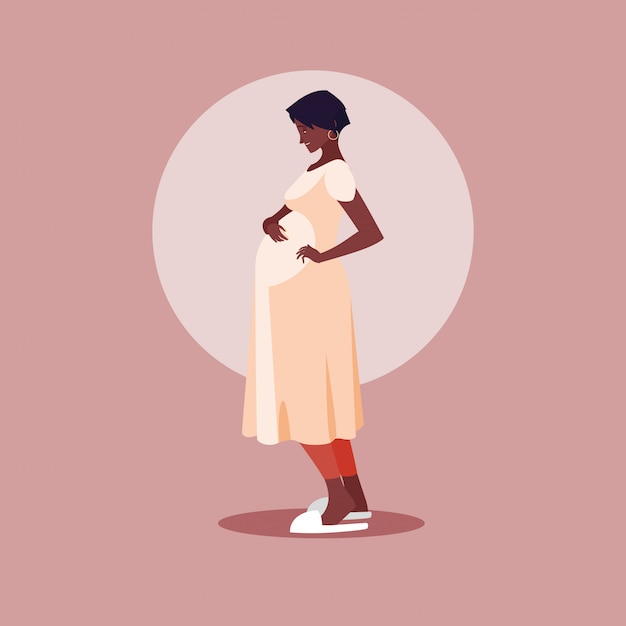 Pregnant afro woman avatar character Premium Vector