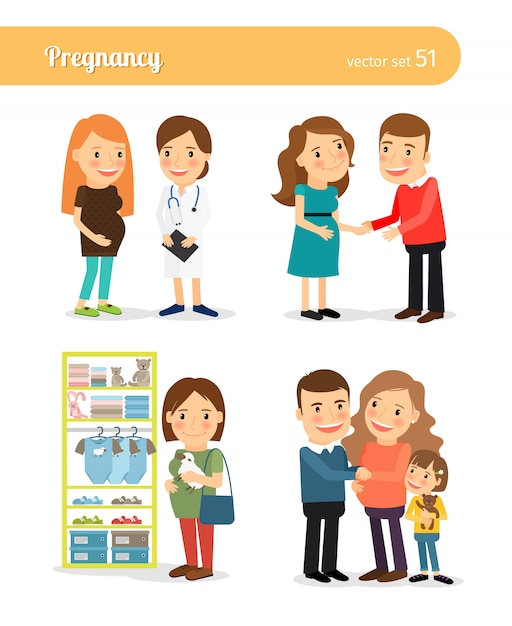 Pregnant and expecting the birth of baby Premium Vector