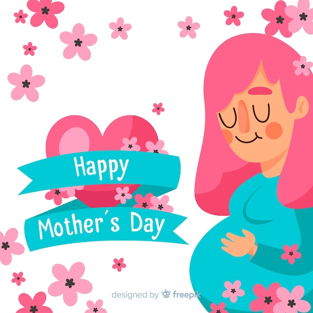 Pregnant girl mother's day background Free Vector
