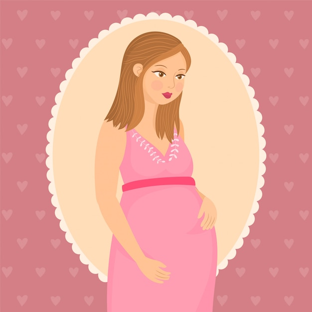 Pregnant happy woman with a baby in her belly Premium Vector