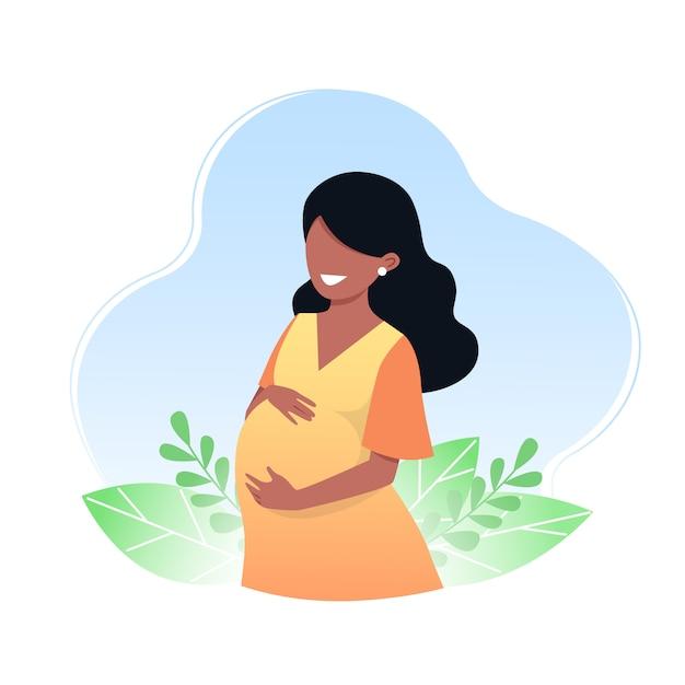 Беременная счастливая молодая женщина. понятие о беременности и материнстве. векторная иллюстрация Premium векторы