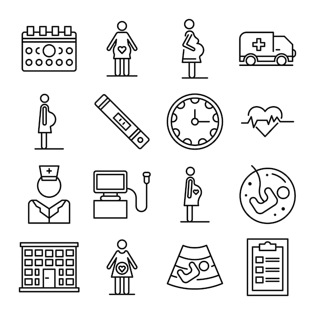 Pregnant icons set, outline style Premium Vector