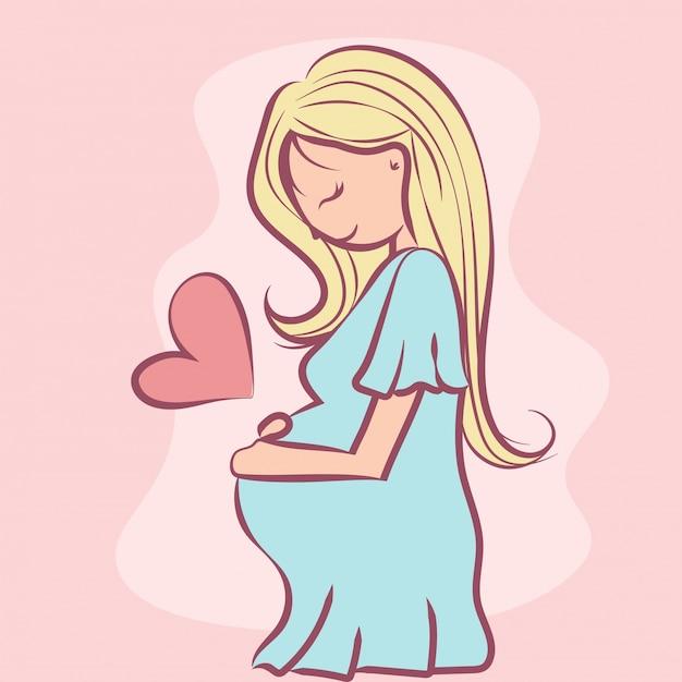 Pregnant in love Premium Vector