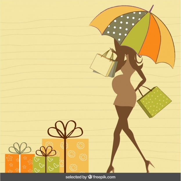 Pregnant silhouette with umbrella baby shower card vector free pregnant silhouette with umbrella baby shower card free vector filmwisefo