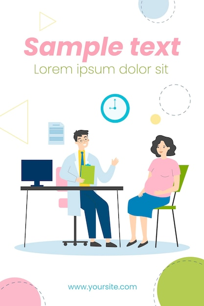 Pregnant woman consulting doctor in his office illustration Premium Vector
