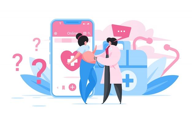 Беременная женщина, консультации с врачом онлайн. плоский мультфильм люди иллюстрация Premium векторы