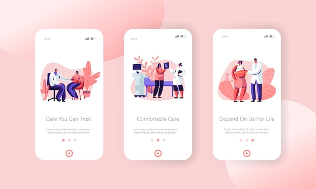 Pregnant woman at doctor appointment in clinic mobile app page set Premium Vector