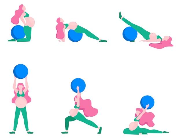Беременная женщина делает набор фитнеса. упражнения с фитнес-мячом. Premium векторы
