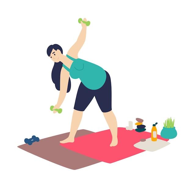 A pregnant woman doing gymnastics Premium Vector