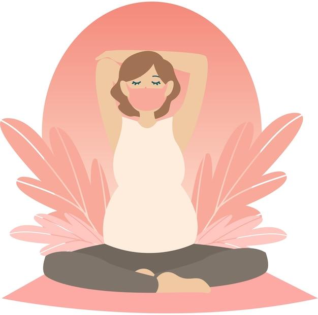Беременная женщина делает беременную йогу дома иллюстрации Premium векторы