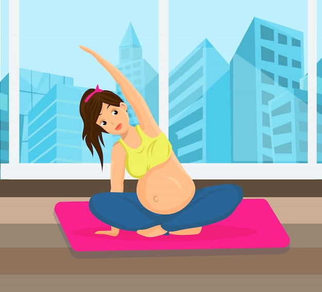 Pregnant woman doing sports Premium Vector