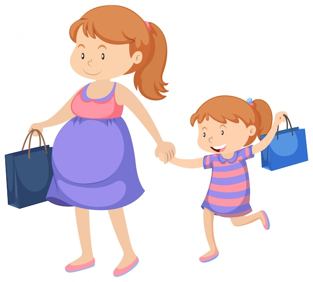 Pregnant woman and little girl shopping Free Vector