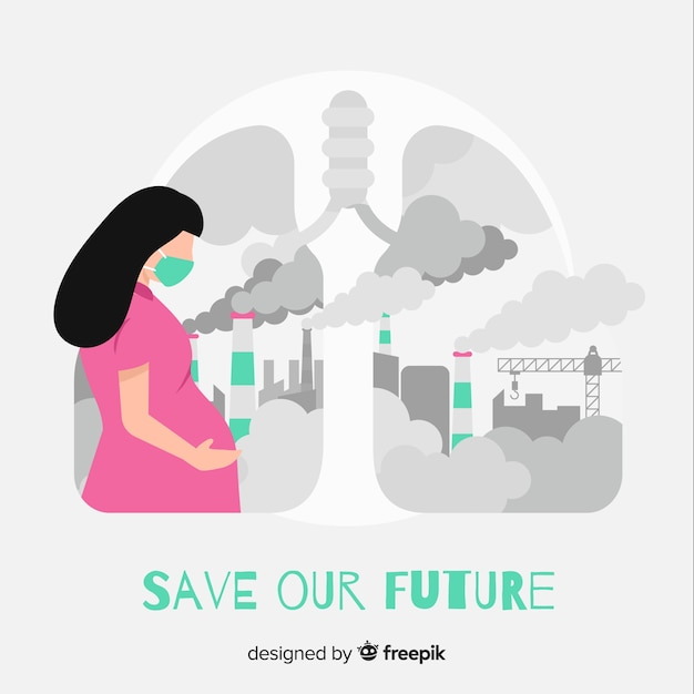 Pregnant woman living in a city full of pollution Free Vector
