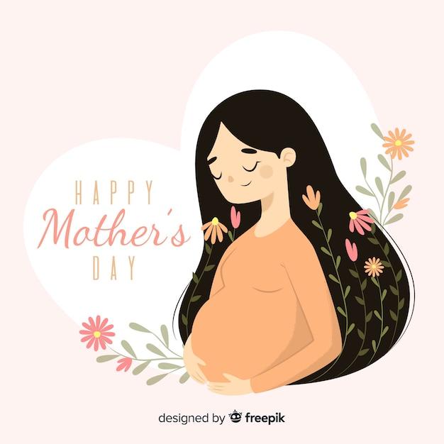 Беременная женщина день матери фон Premium векторы