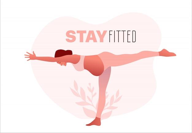 Тренировка йоги беременной женщины практикуя, представление йоги. оставайтесь в форме. Premium векторы