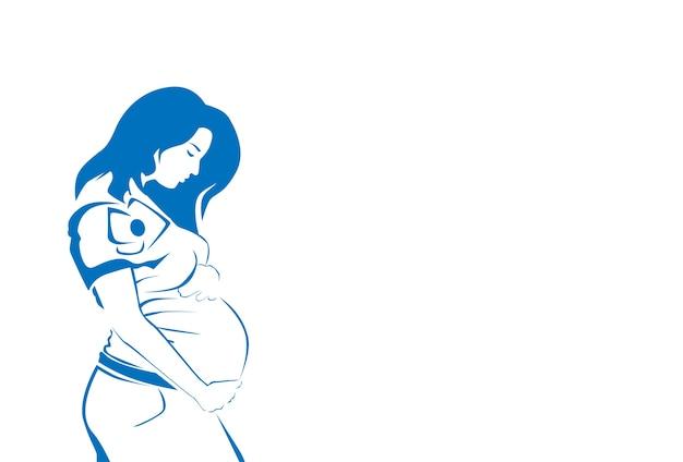 Pregnant woman silhouette sketch line vector illustration Premium Vector