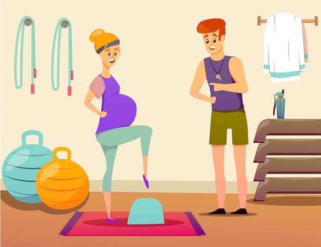 Pregnant woman sport instructor Free Vector