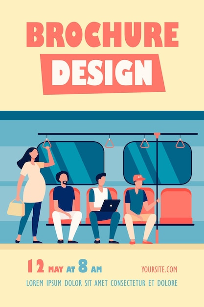 Pregnant woman standing by impolite subway train passengers flyer template Free Vector