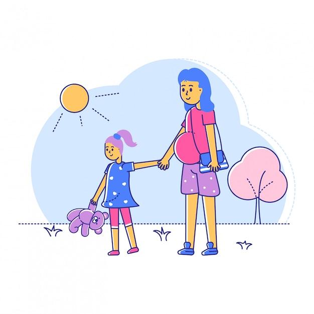 妊娠中の女性は娘と一緒に歩く、妊娠後期のライン女性散歩白、イラストの屋外公園。 Premiumベクター