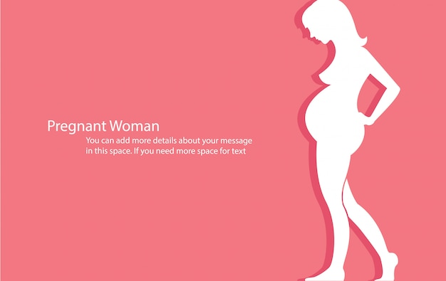 Pregnant woman with pink background vector Premium Vector