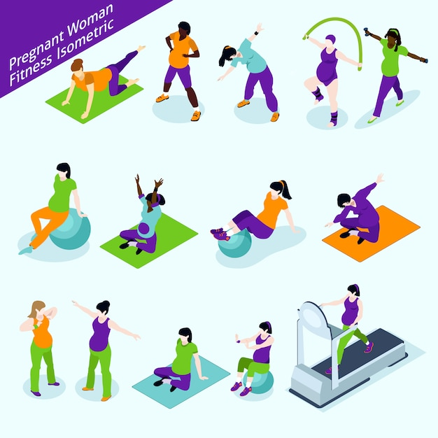 Pregnant women fitness isometric set Free Vector
