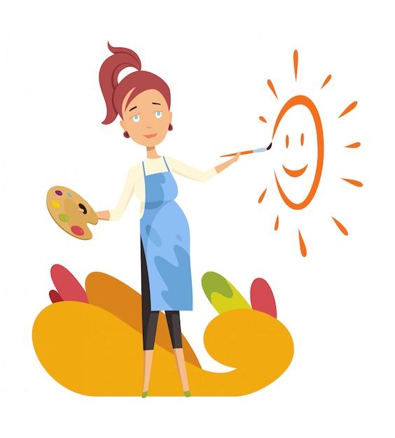 Pregnant women painter. paint the sun for baby room Premium Vector