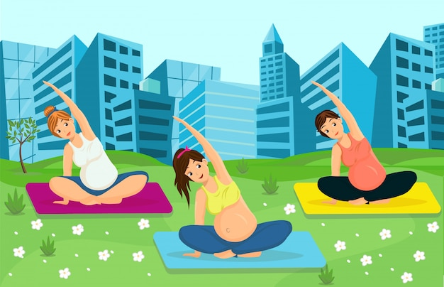 Pregnant women working out Premium Vector