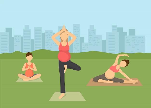 Pregnant women yoga in city vector illustration . prenatal yoga, pilates class on green grass with cityscape. female flat characters exercising, yogi sitting in lotus pose namaste. Premium Vector