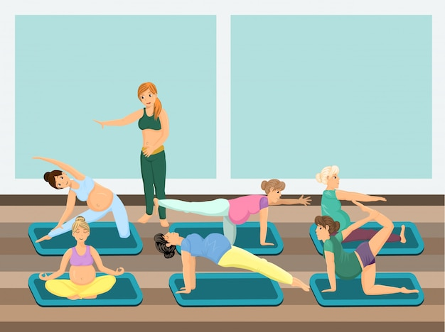 Pregnant women do yoga with instructor Premium Vector