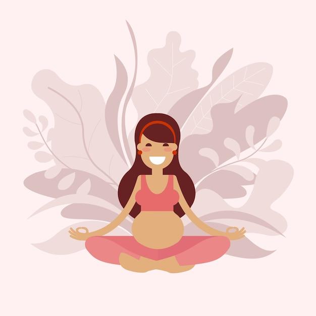 A pregnant yoga girl is meditating. Premium Vector