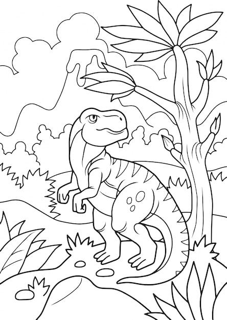 先史時代の恐竜の塗り絵 Premiumベクター