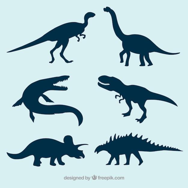 Prehistoric dinosaur vector silhouettes Free Vector