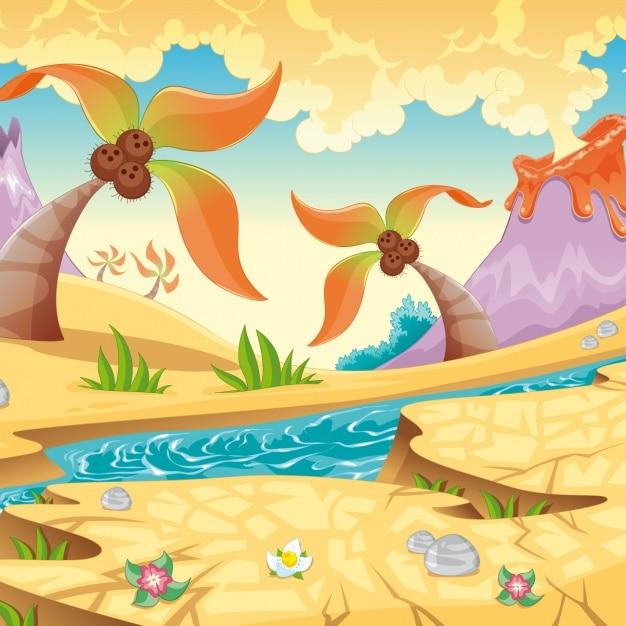 Prehistoric landscape background Free Vector