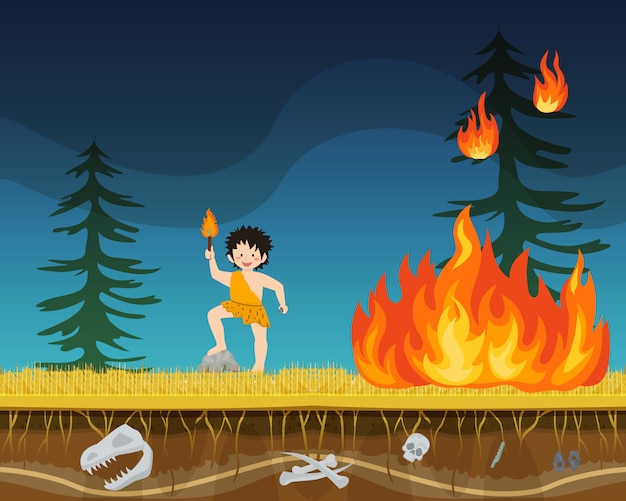 Prehistoric male character extract primitive time fire flat vector illustration. ancient man person with torch start bushfire. Premium Vector