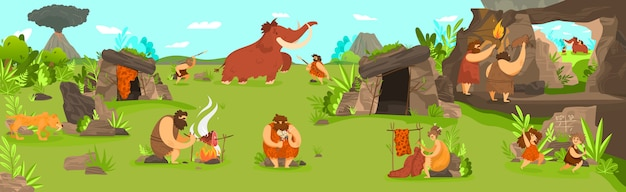 Prehistoric people life in primitive tribe settlement, men hunting mammoth and children playing,  illustration Premium Vector