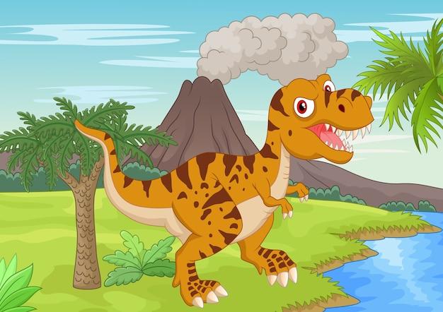 Доисторическая сцена с мужеством тиранозавров Premium векторы