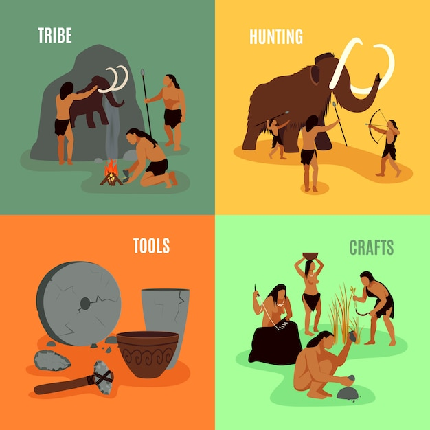 Prehistoric stone age 2x2 images Free Vector