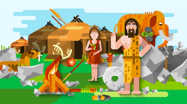 Prehistoric stone age caveman composition Free Vector