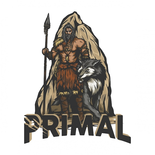 Prehistoric warrior standing with a wolf Premium Vector