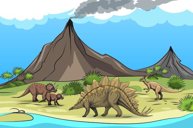 恐竜火山の先史時代。自然と爬虫類、木のヤシ、漫画の野生動物 無料ベクター