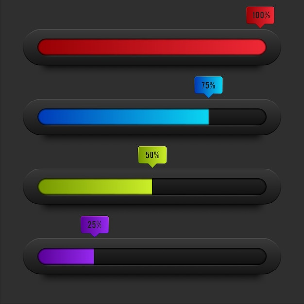 Preloaders and progress loading bars Free Vector