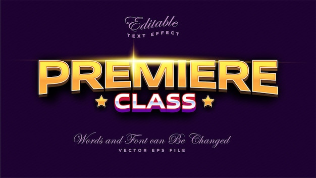 Premiere class text effect Free Vector