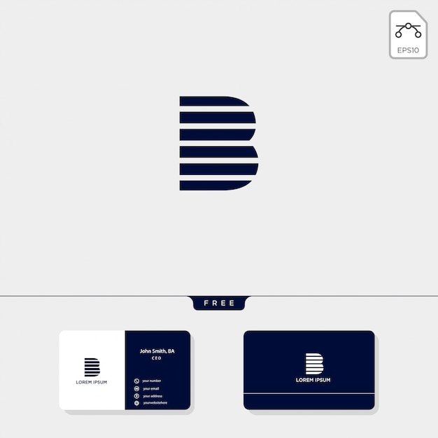 Premium abstract initial b, logo template vector illustration business card design include Premium V