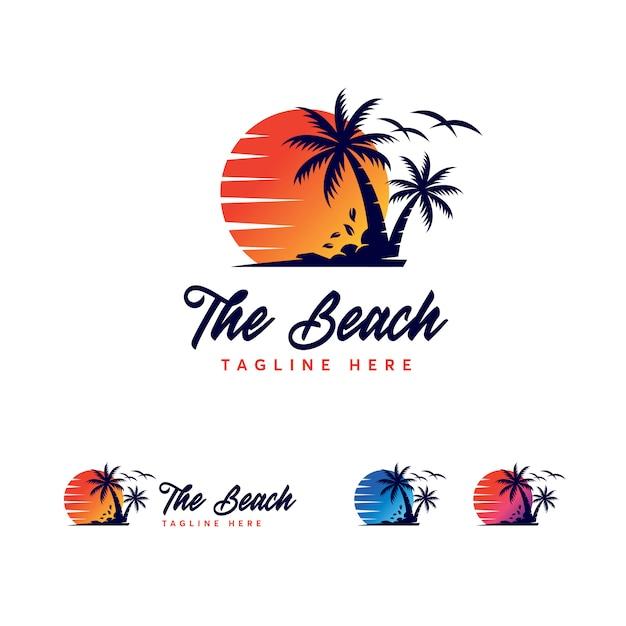 Premium beach logo template Premium Vector