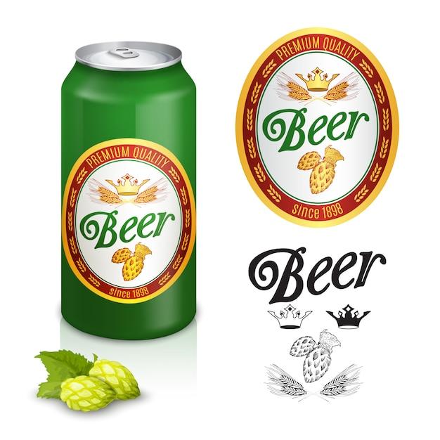 Premium beer label design Free Vector