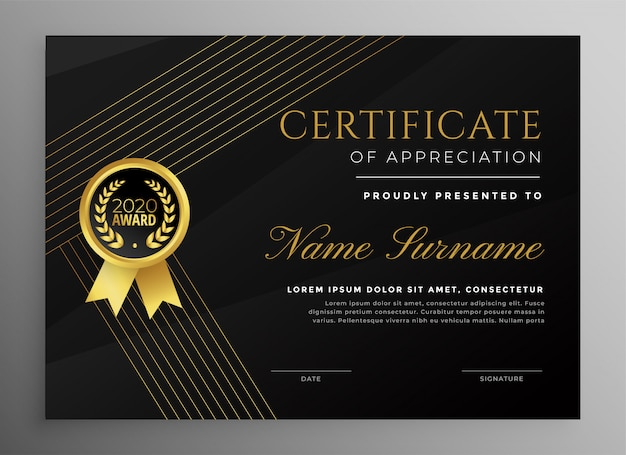 Premium black certificate template with golden lines Free Vector