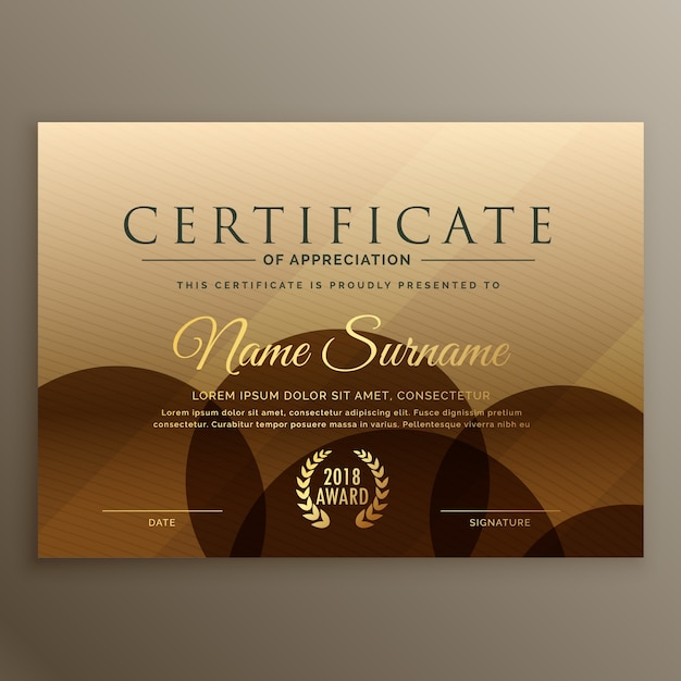 Premium brown certificate design template vector free download premium brown certificate design template free vector yadclub Image collections