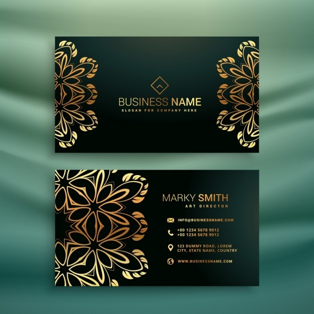 Premium business card with golden floral ornament Vector