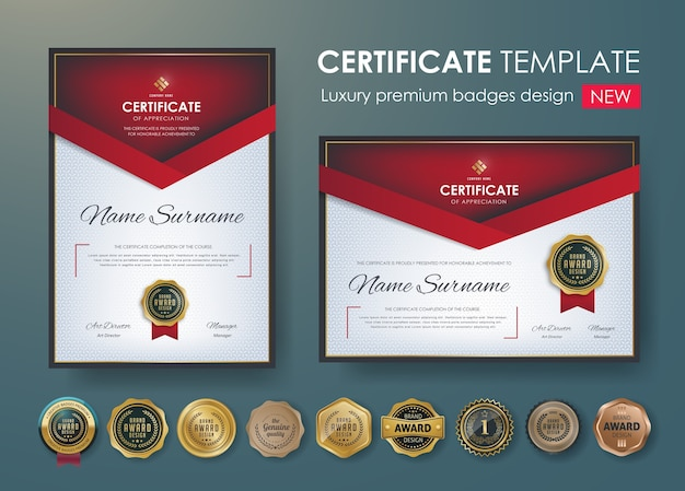 プレミアム証明書の卒業証書のデザインテンプレート Premiumベクター