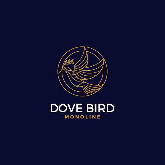 Premium circle dove logo monoline style Premium Vector